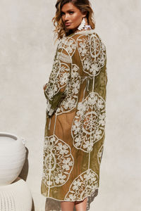 Garden State Olive Floral Crochet Lace Beach Cover Up image