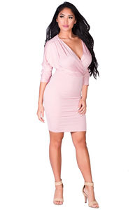 """""""Mirabella"""" Blush 3/4 Sleeve Wrap Front Fitted Jersey Dress image"""