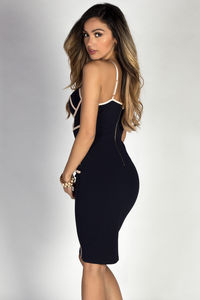 """""""Mila"""" Navy & Nude Bodycon Bustier Cocktail Dress image"""