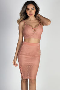 """""""Let's Dance"""" Terra Cotta Mesh Net Lace Up Two Piece Dress image"""