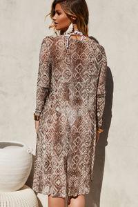 Garden Snake Long Sleeve Chiffon Kimono Cover Up image