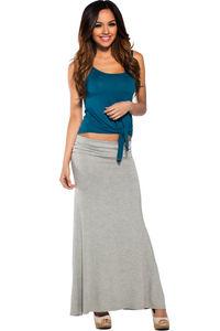 """Amy"" Gray Casual Jersey Long Maxi Skirt image"