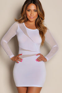 """Cherise"" White See Through Mesh Long Sleeve Mini Dress image"