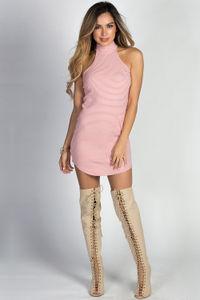 """""""Sadie"""" Rose & White Striped Sleeveless Mockneck Tunic Dress image"""