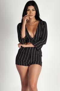 """Bad Tings"" Black Striped Chiffon Shorts image"