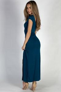 """Wait For It"" Deep Teal Short Sleeve Lace Up V Neck Maxi Dress image"