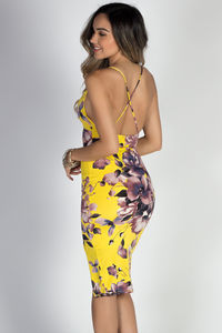 """Live It Up"" Yellow Floral Print Strappy Midi Slip Dress image"