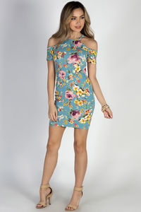 """Nothin' But Blue Skies"" Turquoise Floral Cold Shoulder Bodycon Dress image"