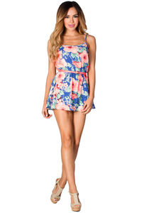 """""""Gayle"""" Blue and Neon Coral Belted Floral Print Romper Dress image"""
