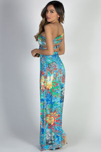 """Island Nights"" Blue Floral Print One Shoulder Jeweled Lace Tropical Maxi Dress image"