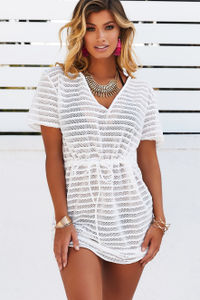 Moet White Striped Mesh Pullover Beach Cover Up image