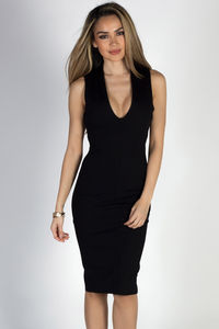 """""""Run to You"""" Black Sleeveless Open Cross Back Cocktail Dress image"""