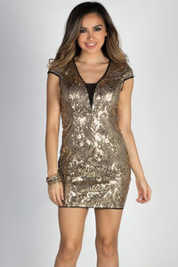 """24K Magic"" Gold Sequin Cap Sleeve Deep V Cocktail Dress image"