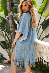 De Sousa Blue Fringed Beach Cover Up image