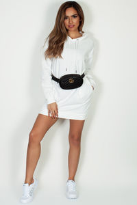 """""""D'elles"""" Off White Hooded French Terry Sweater Dress image"""