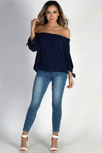 """""""Be Magical"""" Navy Off The Shoulder Top image"""