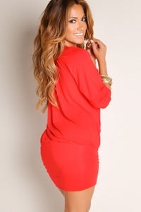 """Elena"" Red Off-the-Shoulder Tunic Dress image"