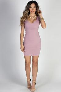 """Chase Me"" Mauve Sexy Open Lace Up Back Short Sleeve Mini Dress image"