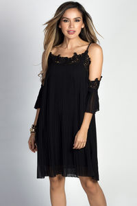 """Esperanza"" Black Pleated Chiffon & Lace Off Shoulder Trapeze Dress image"