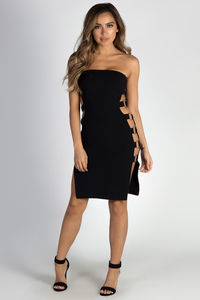 """Out The Bag"" Black Strapless Ring Side Dress image"