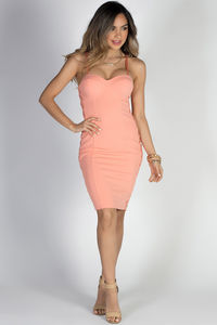 """Then We Kiss"" Peach Lace Up Sides Mesh Cut Out Bustier Cocktail Dress image"