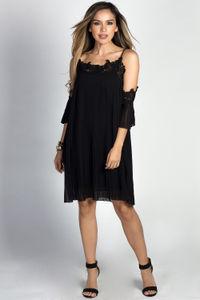 """Esperanza"" Black Pleated Chiffon & Lace Off Shoulder Trapeze Dress image"