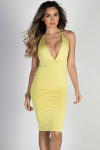 """""""Miss Thing"""" Yellow Plunging V Neck Backless Midi Halter Cocktail Dress image"""