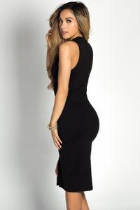 """Samicca"" Black Keyhole High Neck Sleeveless Jersey Midi Dress image"