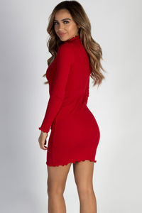 """""""Where Haven't We Been"""" Red Ribbed Long Sleeve Merrow Hem Dress image"""