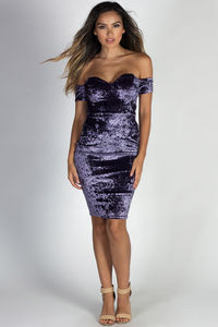 """La Dolce Vida"" Lilac Crushed Velvet Off Shoulder Open Back Midi Cocktail Dress image"