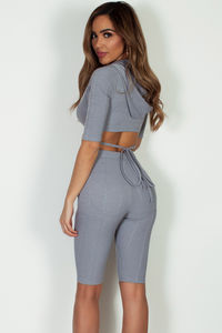 """In Love By Now"" Grey Hooded Front Tie Crop Top W/ Shorts image"