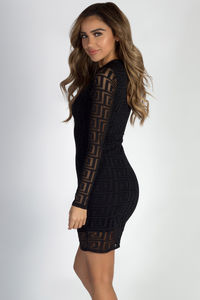 """""""Stage Or Screen"""" Black Burn Out Mesh Long Sleeve Dress image"""