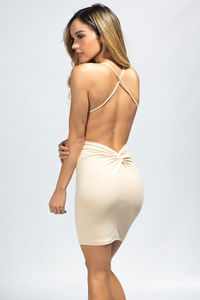 """Demi"" Tan High Neck Backless Jersey Halter Dress image"