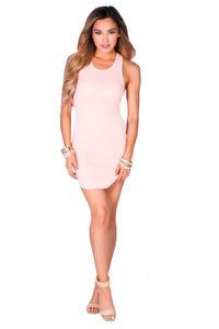"""Cam"" Blush Pink Notched Hem Sexy Sleeveless Ribbed Knit Short Bodycon Dress image"