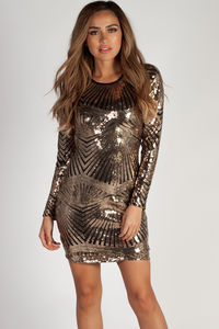 """Draped In Drip"" Gold Sequin Backless Long Sleeve Dress image"