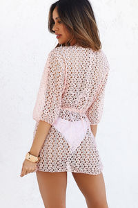 Gaudere Blush Open Knit Crochet Cover Up image