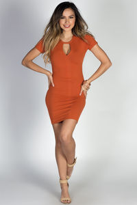 """Zanna"" Orange Spice Keyhole Cut Out Short Sleeve T Shirt Dress image"