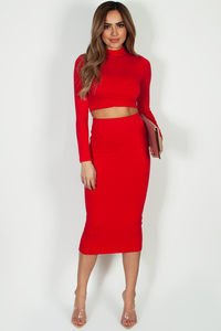"""No Days Off"" Red Long Sleeve Crop Top And Midi Skirt image"