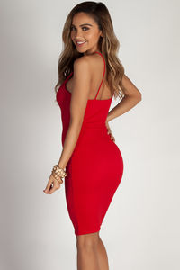 """""""Send The Location"""" Red Crepe Criss Cross Front Detail Dress image"""