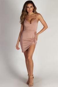 """""""On The Hush"""" Mauve Spaghetti Strap Asymmetrical Mini Dress image"""