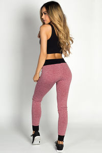 """Team Player"" Red & Black Microfiber Jogger Leggings image"