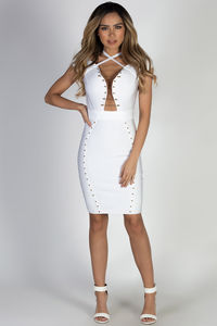 """Defy Gravity"" White Off Shoulder Bandage Dress image"