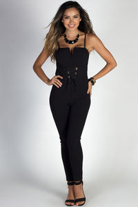 """Runway Baby"" Black Spaghetti Strap Lace Up Waist Skinny Jumpsuit image"