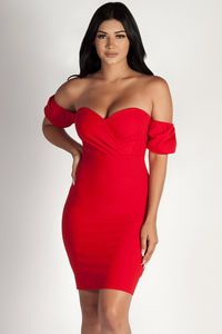 """""""Always This Late"""" Red Off Shoulder Bodice Dress image"""
