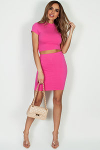 """Saucy"" Fuchsia Short Sleeve Crop Top W/Skirt image"