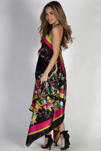 """Mimosas & Sunshine"" Pink & Lime Floral Scarf Dress image"