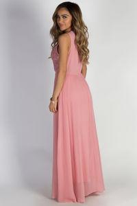 """Sweet Bliss"" Pink Sleeveless Crochet Lace Maxi Dress image"
