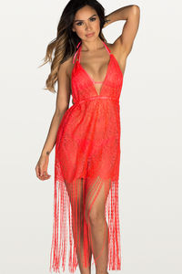 Sweet Dream Coral Lace Fringe Halter Beach Dress Cover Up image