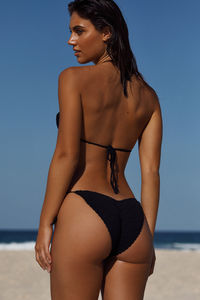Amaryllis Black Crochet Micro Rise Bikini Bottom image