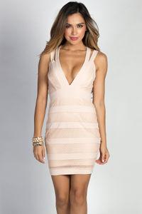 """Katerina"" Blush Pink Mesh Net Wide Crisscross Strap Deep V Cocktail Dress image"